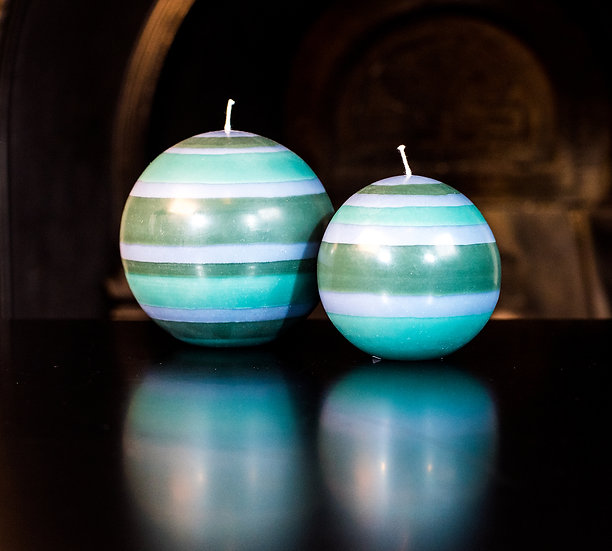Beryl Green, Bokhara & Moonstone Grey Ball Candle