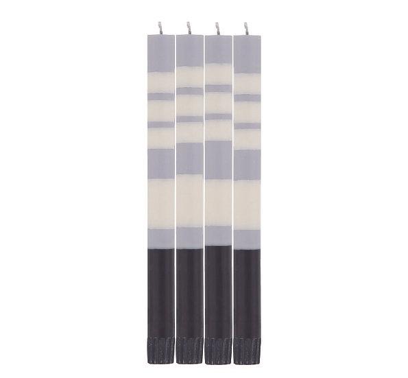Striped Jet Black, Pearl White & Dove Grey Eco Dinner Candles