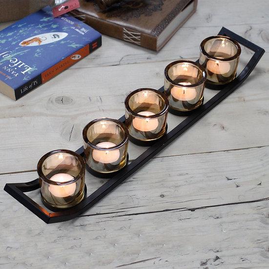 Iron Votive Candle Holder 5 cup ledge