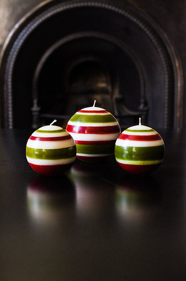 Guardsman Red, Pearl White & Olive Ball Candle
