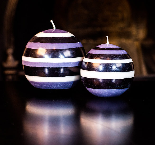Jet Black, Pearl White & Dove Grey Ball Candle