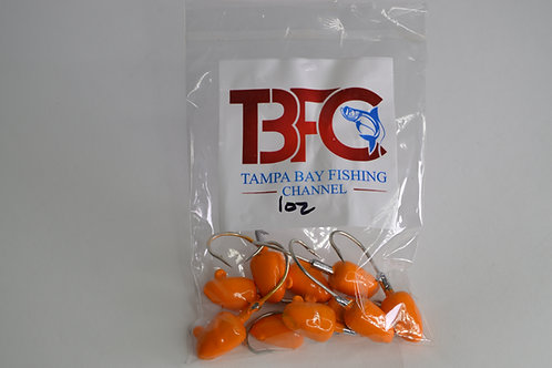1 oz jig head 10pc per bag Orange