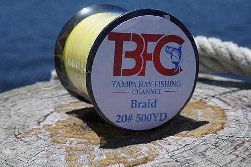 TBFC 20# Yellow Braided Line 500yds