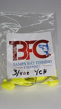 3/4 oz jig head 10pc per bag Yellow Chartreuse