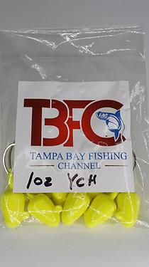 1 oz jig head 10pc per bag Yellow Chartruese