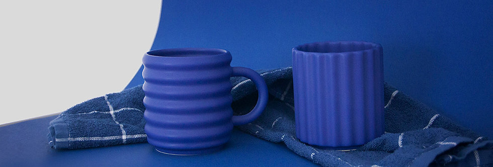 Ripple Mugs Set of 2 Cobalt