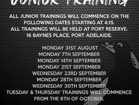Junior Pre-Season Training season 2020/21