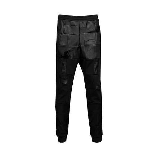 SSD-367 Patched Leather Jogging Pants