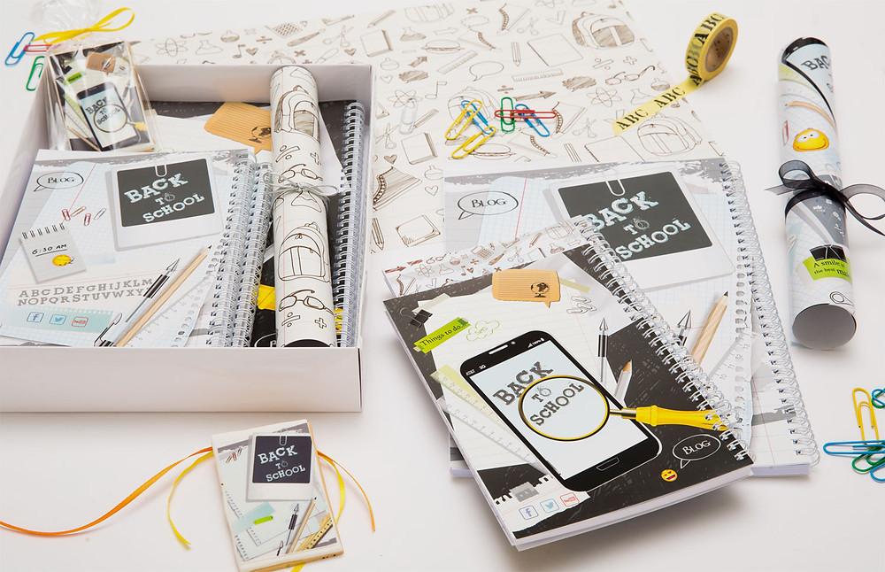 מארז לתלמיד|מחברות|ניירות עטיפה|עוגיות מעוצבות