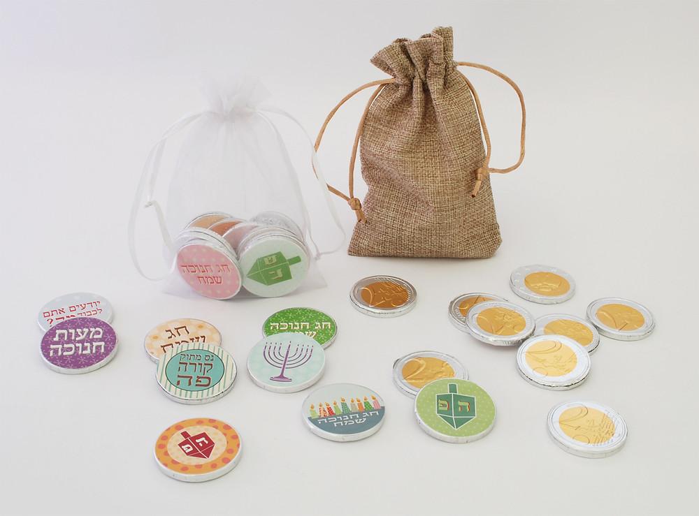 מטבעות ממותגים לחנוכה | מובעות שוקולד מעוצבים לחנוכה