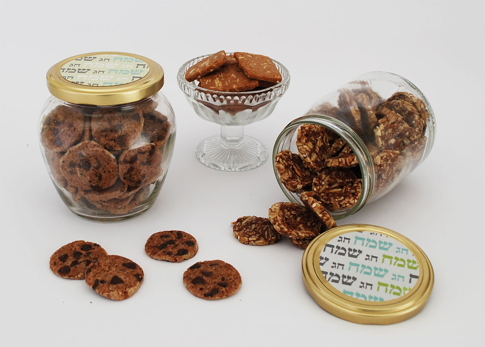 צנצנות ממותגות עם עוגיות מתנות ליום האישה