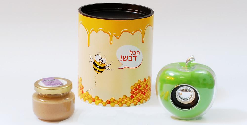 תפוח בדבש - רמקול תפוח וצנצנת דבש