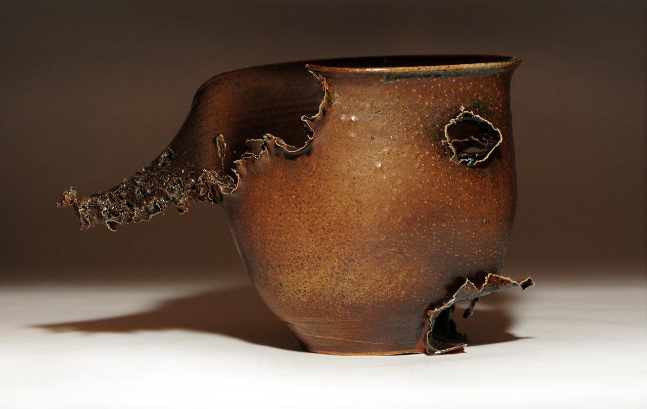 Peter's Black on Brown Stoneware Vase  side view Lrg