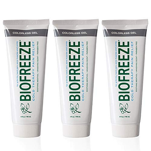 3-Biofreeze Professional Pain Relieving Gel, 4 Ounce Tubes, Colorless Formula