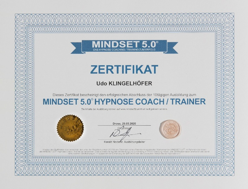 Zertifikat Mindset 5.0 Hypnosecoach Udo Klingelhöfer