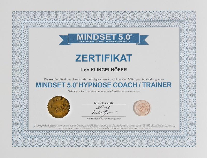 Zertifikat Mindset 5.0 Hypnose