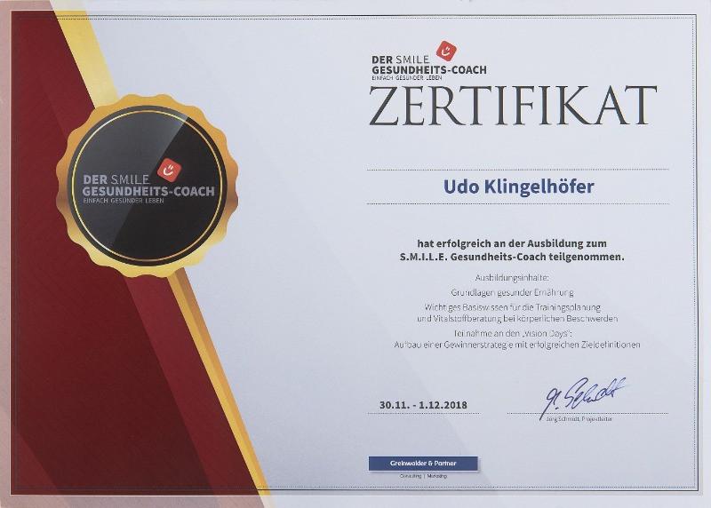 Zertifikat Gesundheitscoach 2018