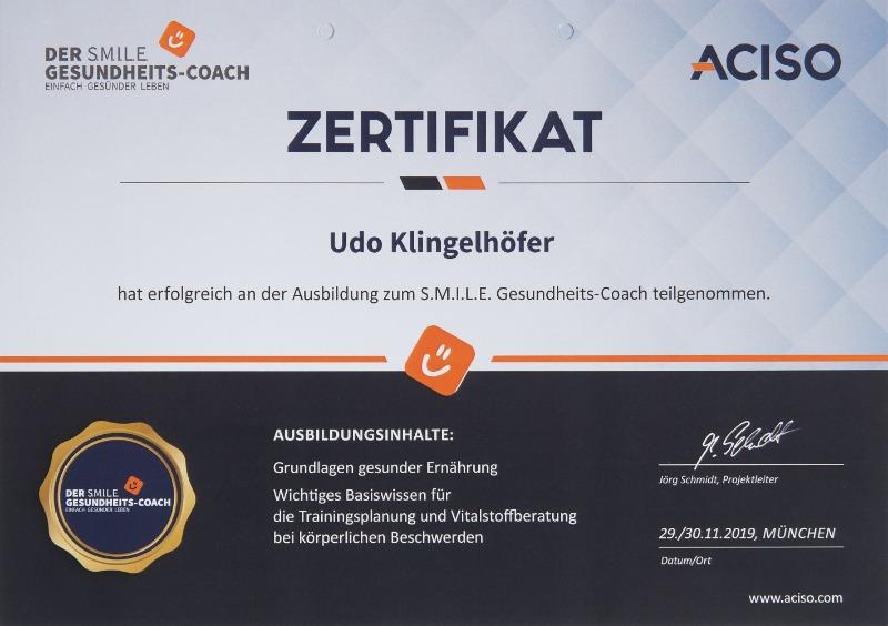 Zertifikat Gesundheitscoach Udo Klingelhöfer