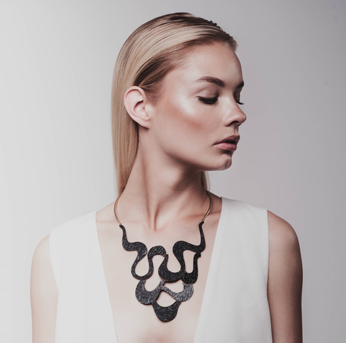 Marina Skia: Black Waves Necklace | Jewelry,Jewelry > Necklaces -  Hiphunters Shop
