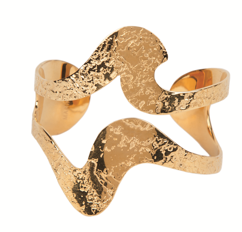 Black Waves Cuff - Gold