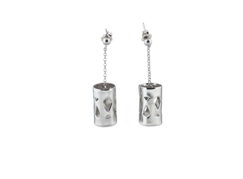 Marina Skia: Art Deco Fluidity Earrings Short - Silver Oxidized | Jewelry,Jewelry > Earrings -  Hiphunters Shop