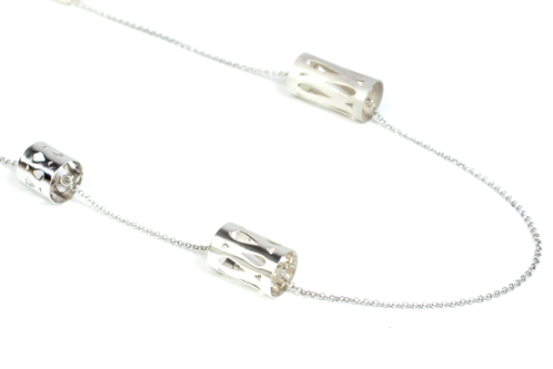 Marina Skia: Art Deco Fluidity Cord Necklace - Silver | Jewelry,Jewelry > Necklaces -  Hiphunters Shop