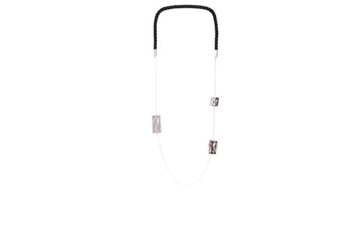 Art Deco Fluidity Cord Necklace - Silver