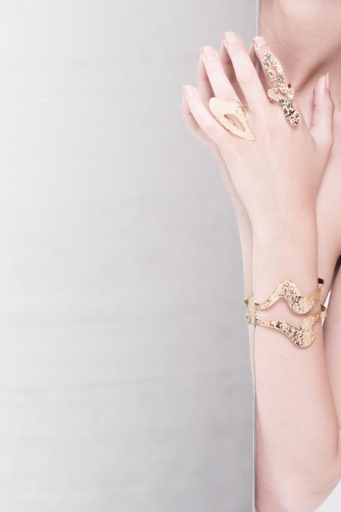 Marina Skia: Black Waves Cuff - Gold | Jewelry,Jewelry > Bracelets -  Hiphunters Shop