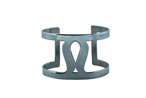 Art Deco Fluidity Cuff - Silver Oxidized