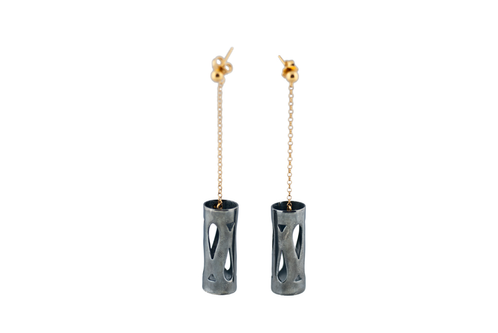 Art Deco Fluidity Earring Long - Silver Oxidized