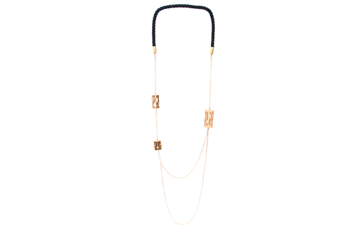Marina Skia: Art Deco Fluidity Cord Necklace - Gold | Jewelry,Jewelry > Necklaces -  Hiphunters Shop