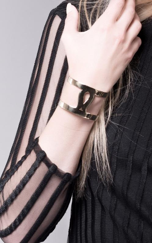 Marina Skia: Art Deco Fluidity Cuff - Silver | Jewelry,Jewelry > Bracelets -  Hiphunters Shop