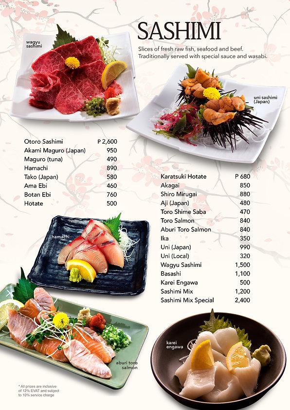 Sashimi menu at Hanakazu