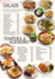 Salads, Tempura and Agemono menu at Hanakazu