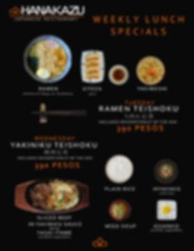 Weekly lunch specials at Hanakazu