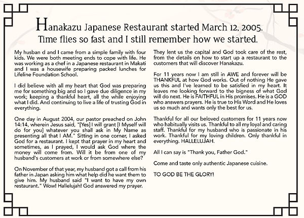 Owner Ms. Lorna Otsuka describes the humble beginnings of Hanakazu