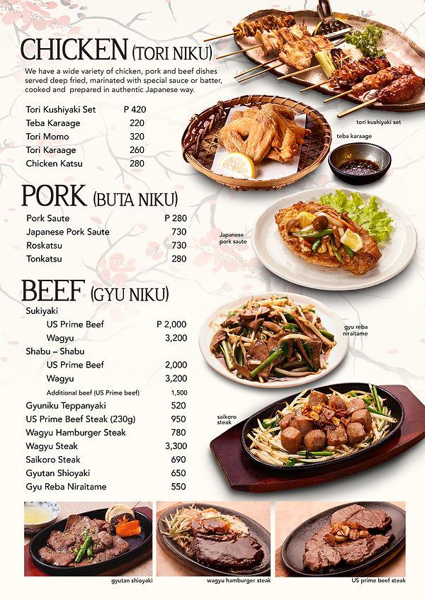 Chicken, Pork and Beef menu at Hanakazu Japanese Restaurant