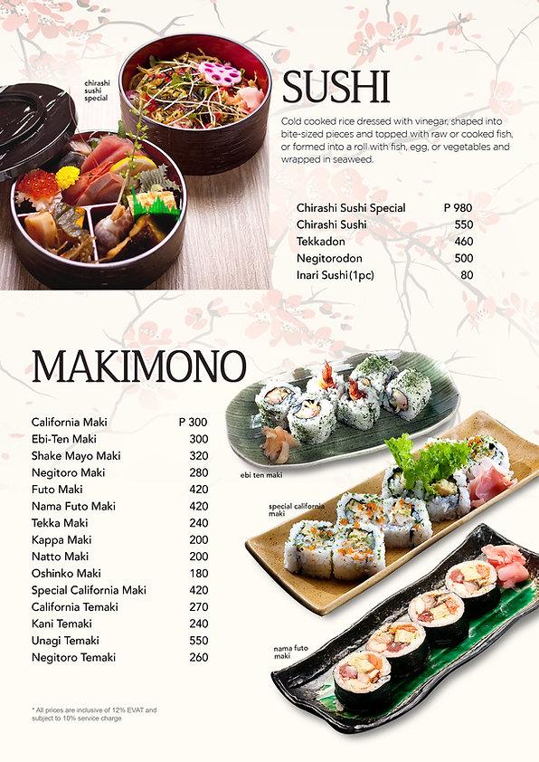 Hanakazu makimono menu