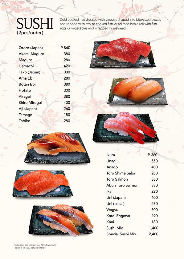 Sushi menu at Hanakazu