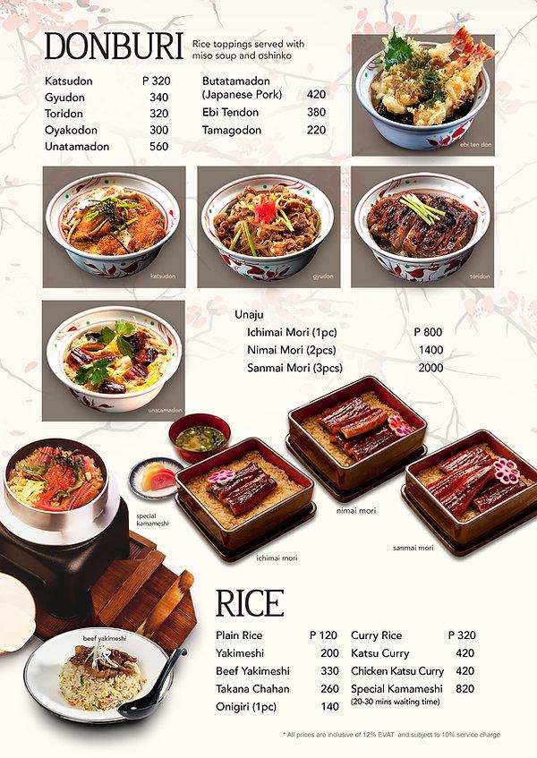Donburi and rice menu at Hanakazu Japanese Restaurant