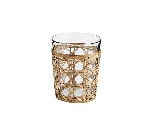 Trinkglas mit Bambusumfassung