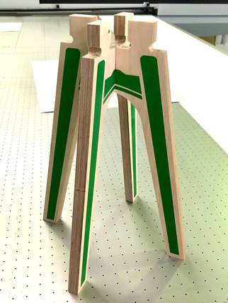 Printed furniture legs ready for spray