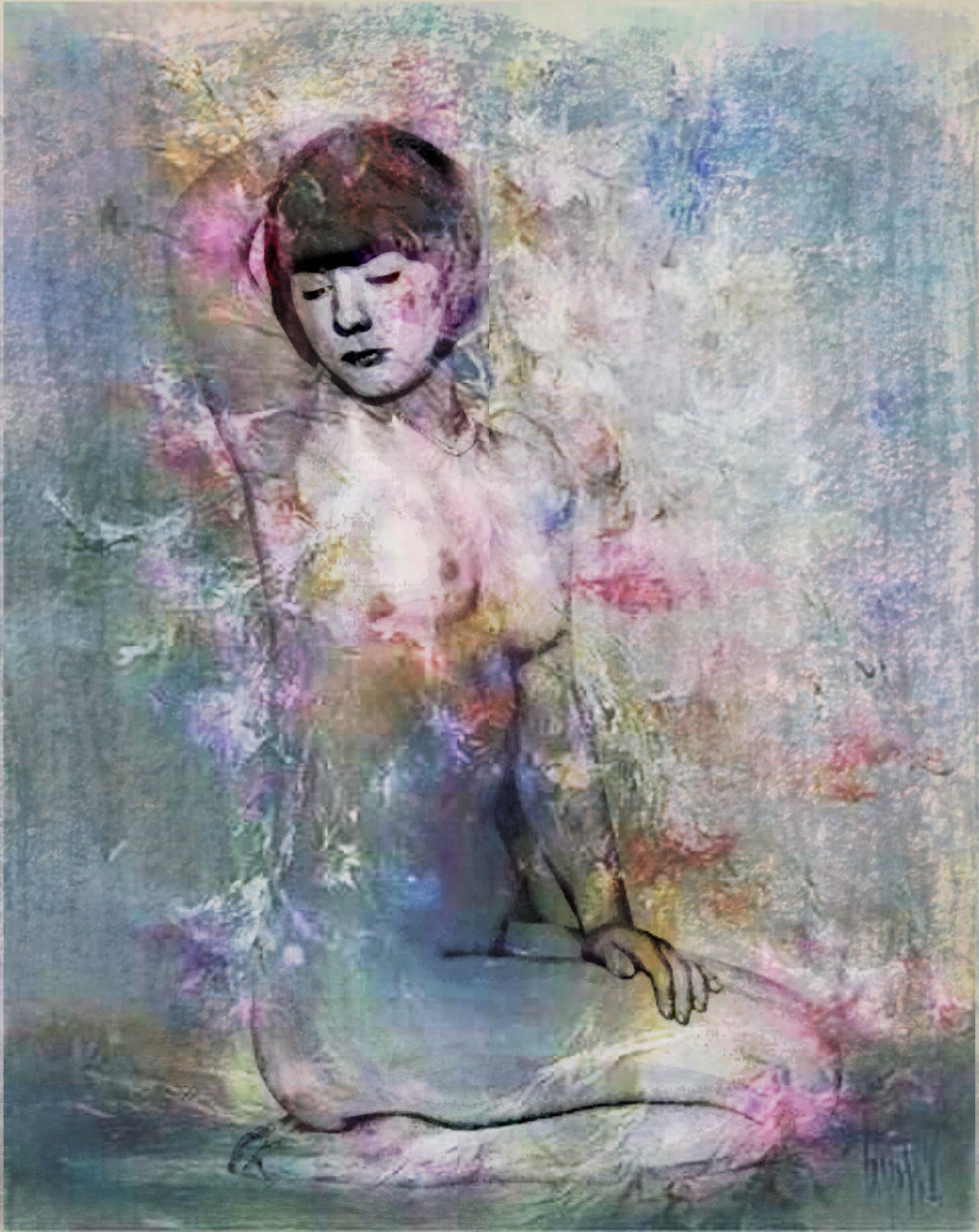 femme aux fleurs