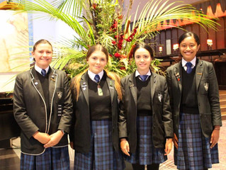 Students commemorating Commonwealth Day at a service at Wellington Cathedral of St Paul on Monday 12