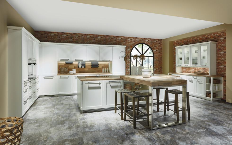 Cuisine façades à cadres blancs et plan de travail en bois