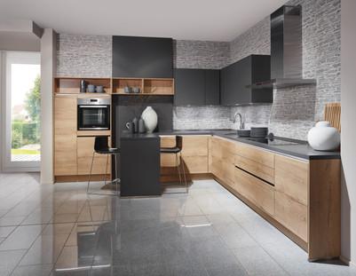 Cuisine façades couleur boiset plan de travail gris