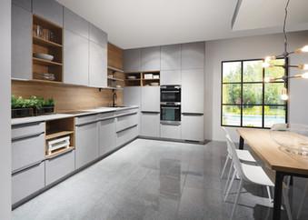 Cuisine façades grises avec plan de travail bois