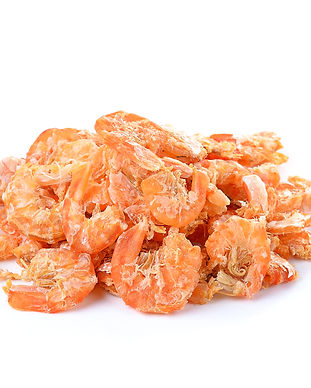 dried shrimp isolated on a white backgro