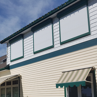 Roll Shutters White and Green