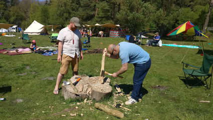 teaching wood work  at a small festival